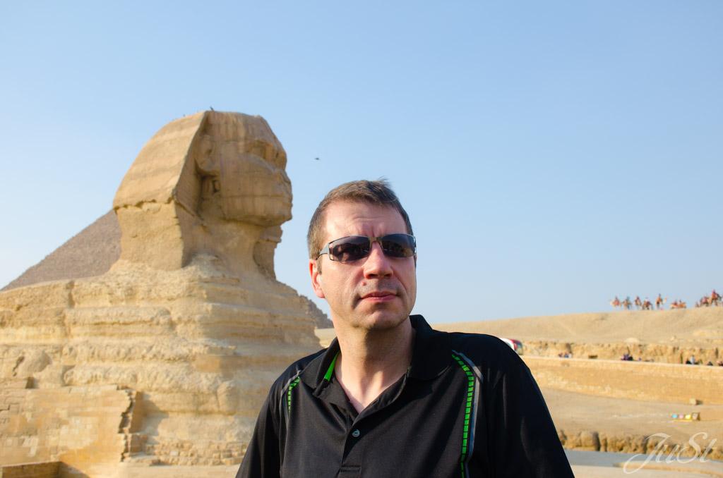 Alex und Große Sphinx von Gizeh