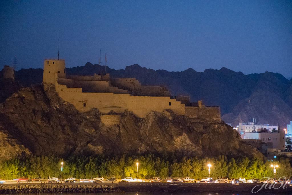 Muscat Festung am Abend