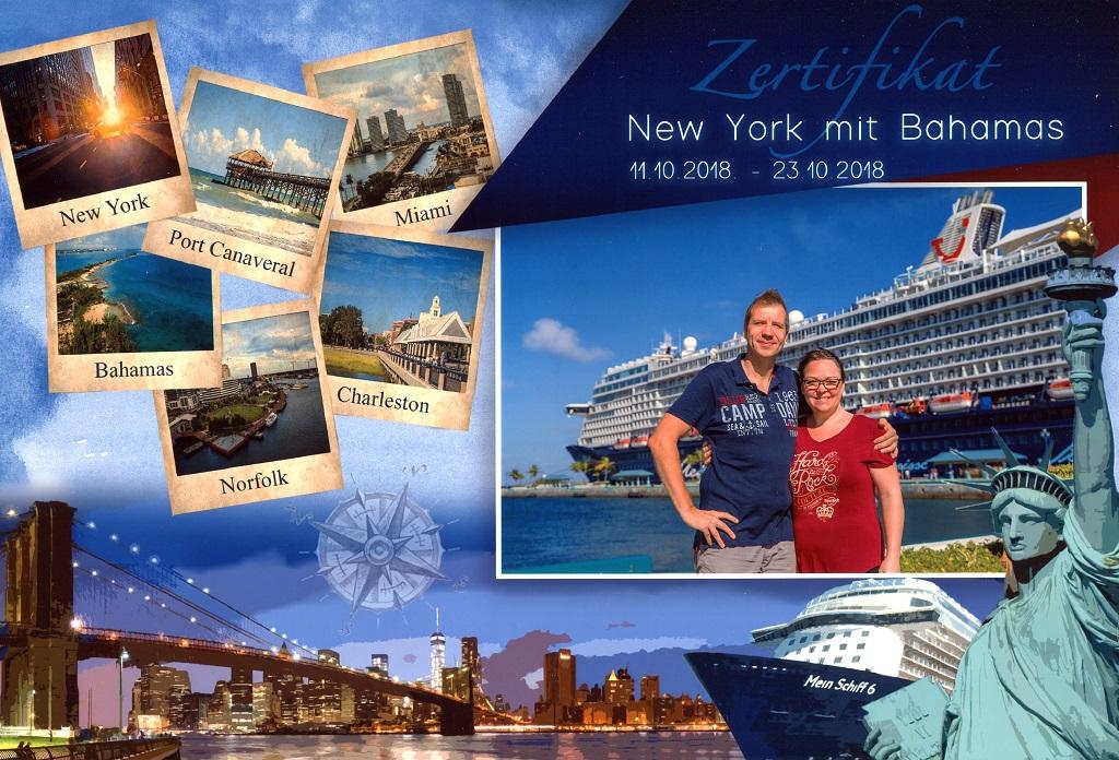 Zertifikat New York Bahamas